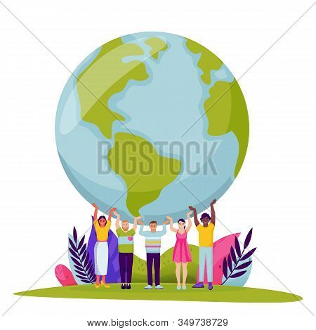 Diversity People Holding Earth Planet. Vector Flat Cartoon Illustration For Save The Earth Day. Tiny