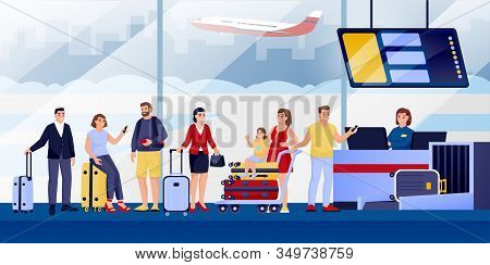 Flight Check-in At Airport Terminal. Vector Flat Illustration. Traveling Passengers With Luggage, Ca