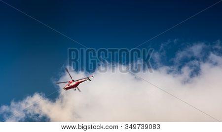 Mountain Rescue Helicopter (topr - Tatrzanskie Ochotnicze Pogotowie Ratownicze) During Emergency Cal