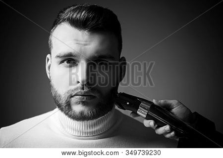 Trimming Beard. Man Bearded Face Visit Hairdresser. Barber Glossy Hairstyle. Create Style. Macho Con