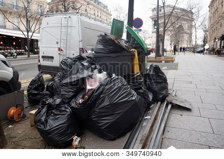 Paris, 4 February 2020. Accumulation Of Garbage In Paris After The Blockade Of Waste Incineration Si