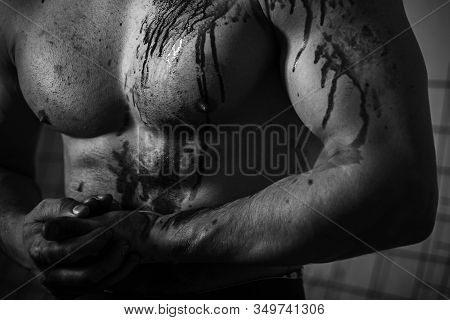 Murderer Bloody Brutal Aggressive Guy. Aggressive Person. Injured Soldier. Chest Muscular Torso With