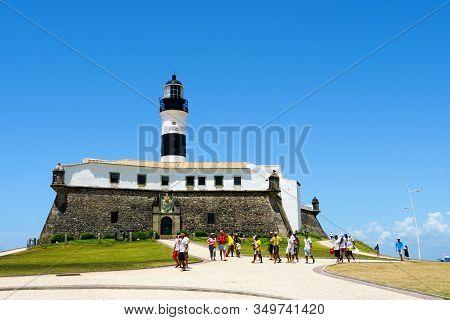 Farol Da Barra, Barra Lighthouse, In Salvador, Bahia, Brazil. The Historic Architecture Of Salvador