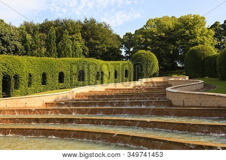 Alnwick, England - July 14: The Grand Cascade Pictured On July 14, 2013 Is The Centrepiece Of Alnwic