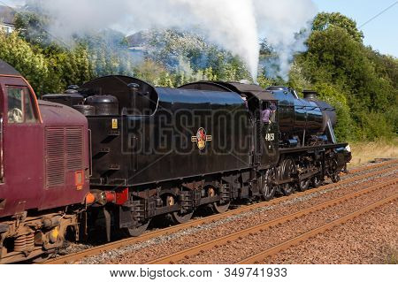 Appleby, England - August 18:  Preserved Stanier Class 8f Steam Locomotive Number 48151 Departs Sout