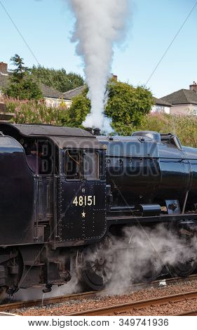 Appleby, England - August 18:  Preserved Stanier Class 8f Steam Locomotive Number 48151 Lets Off Ste