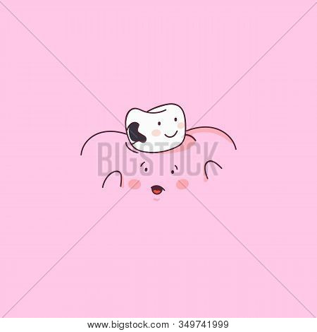 Dental Treatment. Tooth With Caries Icon. Dental Personage Cartoon Vector Illustration. Illustration