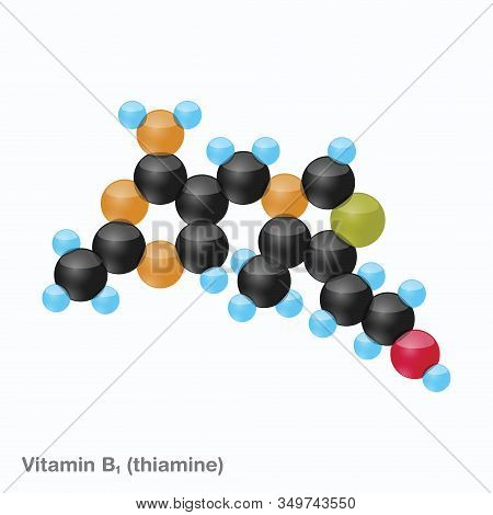 The Molecule Of Vitamin B1 (thiamine). Vector Illustration In 3d Style, Isolated On White Background