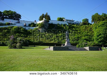 Mackinac Island, Michigan / United States - June 11, 2018: A Sculpture Of Father Jacques Marquette S