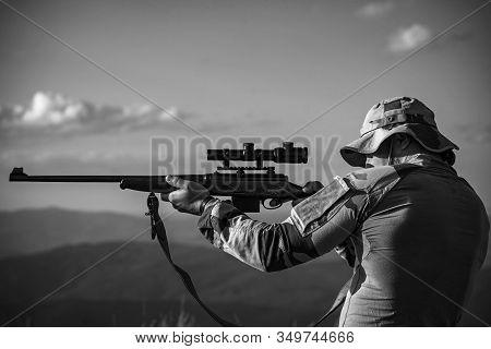 Hunter Classic. Hunter With Shotgun Gun On Hunt. Hunter In The Hunting Season. Hunting Period. Male