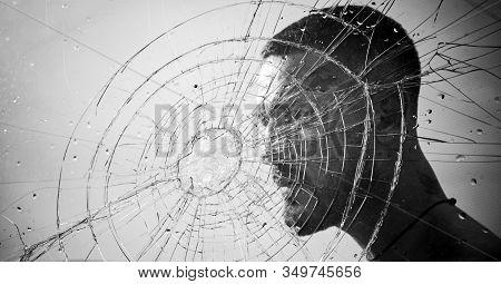 Crack. Macho Man Behind Crushed Glass. Anger. Destruction. Crush Test. Theft. Emotional Discharge. B