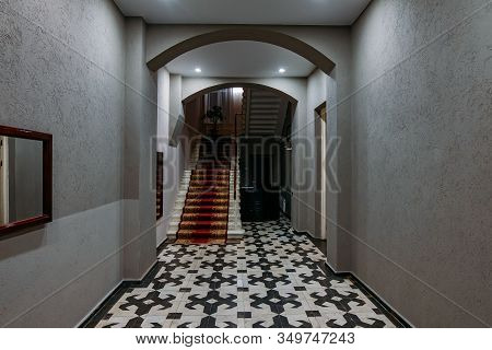 Old Vintage Staircase In Entrance Hall Of Hotel