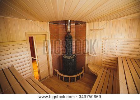 Heater, In The Sauna. Large Bright Room Decorated With Light Woods