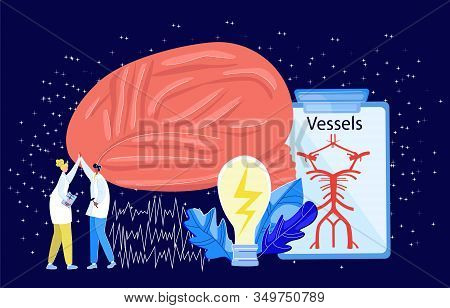 Vector Illustration With Abstract Image Brain, Blood Vessels, Two Doctors Giving Five, Ideas In Form