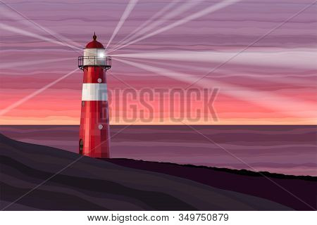A Red And White Lighthouse At Sea At Dusk Vector Illustration