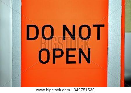 Do Not Open As Text On Aviation Emergency Flight Recorder Aka Voice Registrar Closeup, Modern Airlin