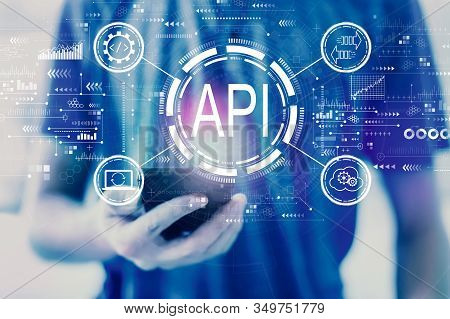 Api - Application Programming Interface Concept Api Concept With Young Man Using A Smartphone