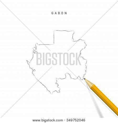 Gabon Freehand Pencil Sketch Outline Map Isolated On White Background. Empty Hand Drawn Vector Map O