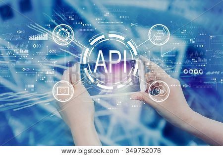 Api - Application Programming Interface Concept Api Concept With Person Using A Smartphone