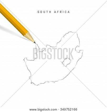 South Africa Freehand Pencil Sketch Outline Map Isolated On White Background. Empty Hand Drawn Vecto