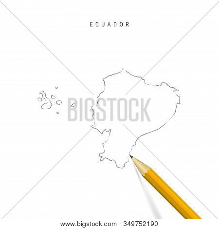 Ecuador Freehand Pencil Sketch Outline Map Isolated On White Background. Empty Hand Drawn Vector Map