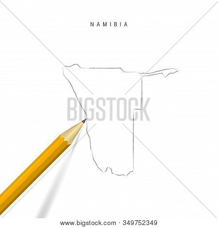 Namibia Freehand Pencil Sketch Outline Map Isolated On White Background. Empty Hand Drawn Vector Map