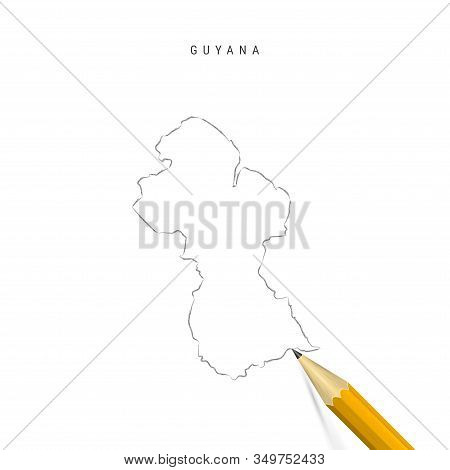 Guyana Freehand Pencil Sketch Outline Map Isolated On White Background. Empty Hand Drawn Vector Map