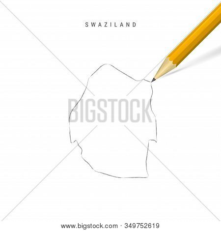 Swaziland Freehand Pencil Sketch Outline Map Isolated On White Background. Empty Hand Drawn Vector M