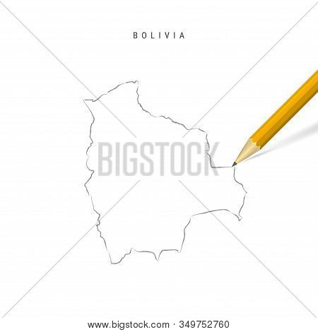 Bolivia Freehand Pencil Sketch Outline Map Isolated On White Background. Empty Hand Drawn Vector Map