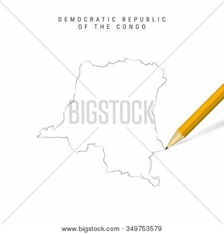 Democratic Republic Of The Congo Freehand Pencil Sketch Outline Map Isolated On White Background. Em