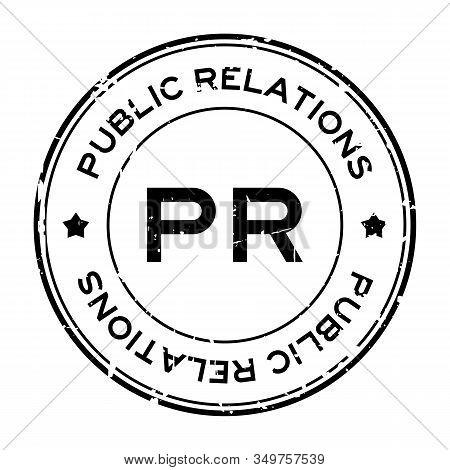 Grunge Black Pr Public Relations Word Round Rubber Seal Stamp On White Background