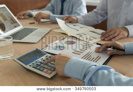 Business Analyst Team Checking In Financial Statement For Business Valuation. Accounting,financial