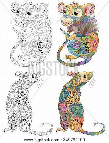 Zentangle Stylized Rats. Hand Drawn Lace Vector Illustration