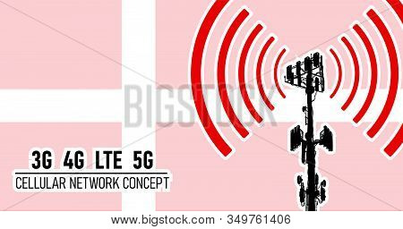 Cellular Mobile Network Tower - Connection Concept For Denmark, Vector Illustration Of 3g 4g Lte 5g