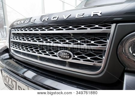 Novosibirsk, Russia - 02.07.2020: Black Used Land Rover Range Rover Supercharger 2010 With Front Gri