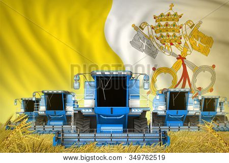 Industrial 3d Illustration Of A Lot Of Blue Farming Combine Harvesters On Rye Field With Holy See Fl