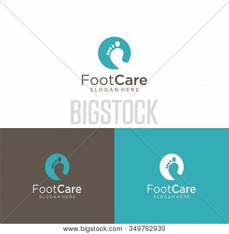 Foot Clinic Logo Designs, Foot Care Logo Designs Vector , Circle Foot Care Logo.