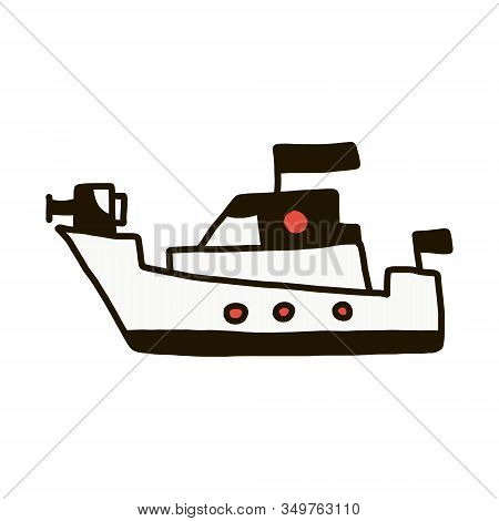 Warship Outline Vector Icon. Thin Line Black Warship Icon, Flat Vector Simple Element Illustration F