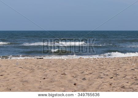 Beautiful Images Of Blue Water Sea And Blue Clear Sky With Brown Sandy Beach Backgrounds, Beach Land