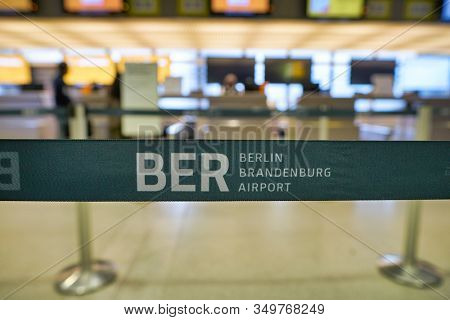 BERLIN, GERMANY - CIRCA SEPTEMBER, 2019: clost up shot of a belt at check-in area in Berlin-Tegel Airport.