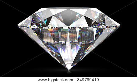Sparkling Light Round Brilliant Cut Diamond With Shadow. 3d Rendering Illustration Isolated On Black