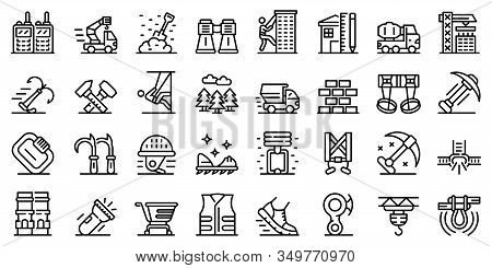 Industrial Climber Icons Set. Outline Set Of Industrial Climber Vector Icons For Web Design Isolated