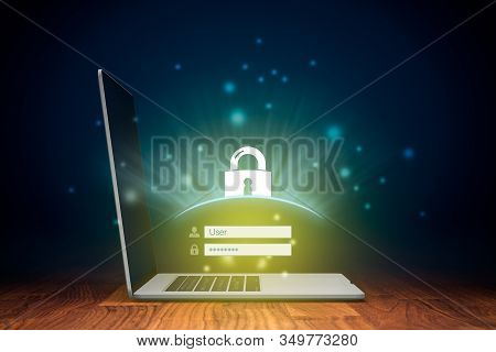 Cybersecurity And Computer Security Concept. Notebook And Login Screen And Padlock Symbolizing Compu