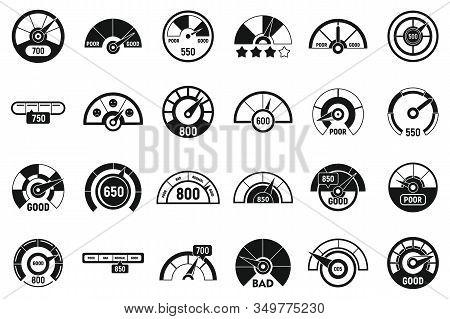 Credit Score Meter Icons Set. Simple Set Of Credit Score Meter Vector Icons For Web Design On White