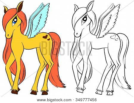 Vector Isolated Pony. Coloring Of Pony. Colored Pink Cartoon Horse. Coloring And Colorful Pony.