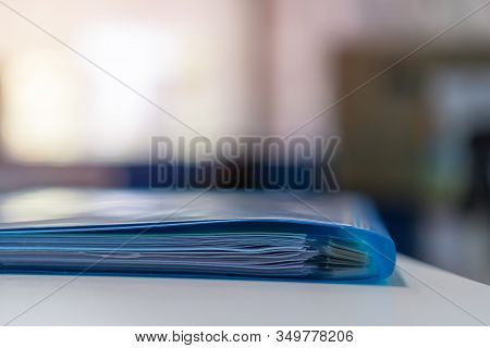 Blue File Folders  Paperwork Archive Database Administration With Documents Binder On Desk Office. S