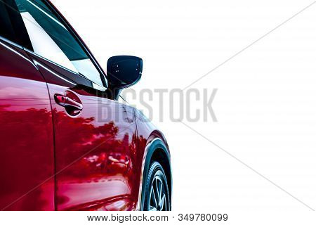 Luxury Car Isolated On White Background. Auto Leasing Business. Car Dealership Concept. Side View Of