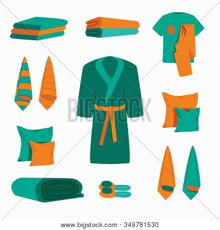 Set Vector Hygiene Objects Clothing Softness Blanket Hanging Towels. Home Textiles. Cotton Towels An