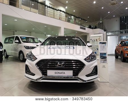 Front View Of A South Korean Hyundai Sonata Car At The Hyundai Motor Show On February 05, 2020 In Ru