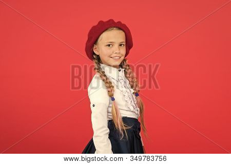 Learning French. Happy Child In Uniform. Little Girl In French Beret. Education Abroad. Kid Fashion.